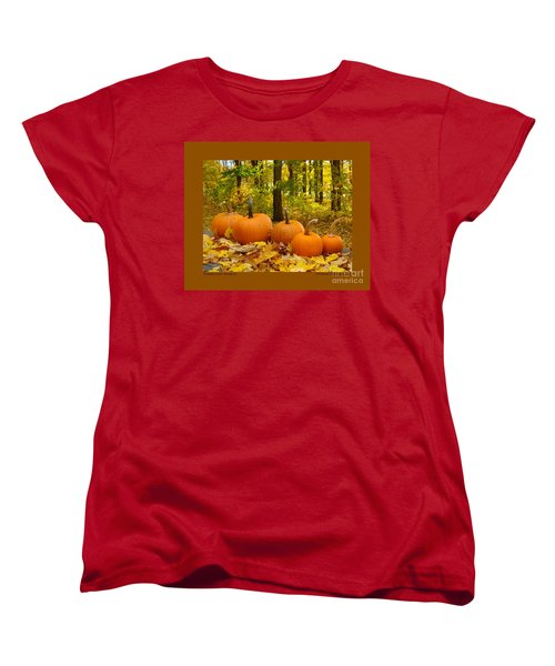 Women's T-Shirt (Standard Cut) featuring the photograph Pumpkins And Woods-iii by Patricia Overmoyer