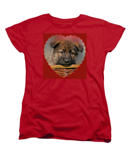 Women's T-Shirt (Standard Cut) featuring the photograph Puppy In Red Heart by Sandy Keeton