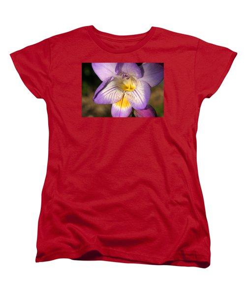 Purple Fresia Flower Women's T-Shirt (Standard Cut) by Ralph A  Ledergerber-Photography