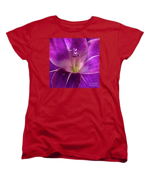 Women's T-Shirt (Standard Cut) featuring the photograph Purple Orchid Close Up by Kim Nelson