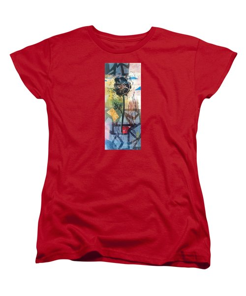 Women's T-Shirt (Standard Cut) featuring the mixed media Puzzled Floral by Cynthia Lagoudakis