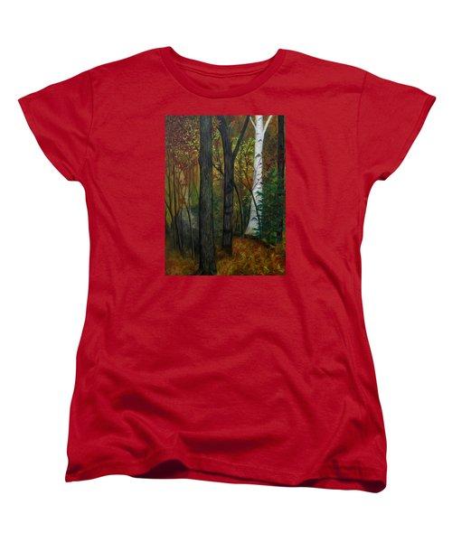 Quiet Autumn Woods Women's T-Shirt (Standard Cut) by FT McKinstry