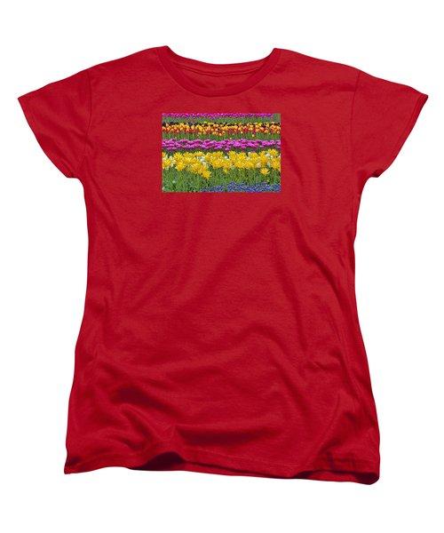 Rainbow Flowers Women's T-Shirt (Standard Cut) by Nadia Sanowar
