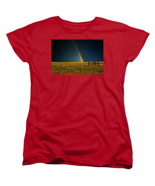 Women's T-Shirt (Standard Cut) featuring the photograph Rainbow In A Field 001 by George Bostian