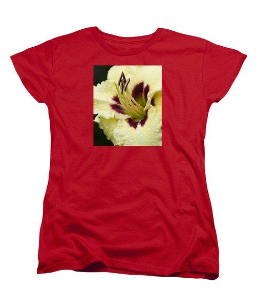 Raindrops On A Petal Women's T-Shirt (Standard Cut) by Tiffany Erdman