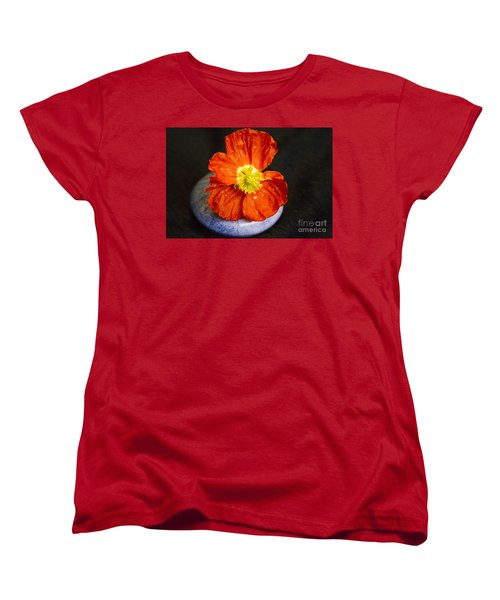 Women's T-Shirt (Standard Cut) featuring the photograph Raindrops On Poppy  by Jeanette French