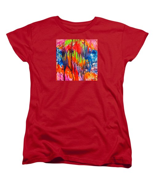 Women's T-Shirt (Standard Cut) featuring the painting Raindrops On The Window by Dragica  Micki Fortuna