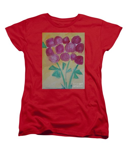 Women's T-Shirt (Standard Cut) featuring the painting Randi's Roses by Kim Nelson