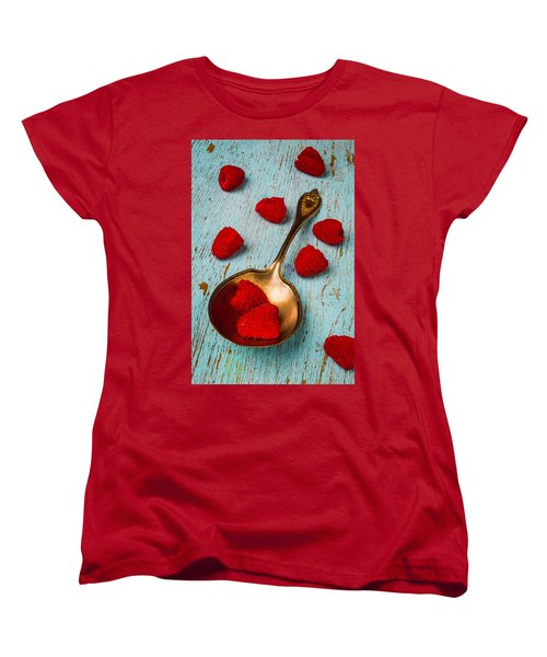 Raspberries With Antique Spoon Women's T-Shirt (Standard Cut) by Garry Gay