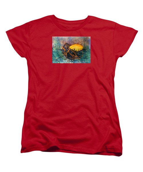 Women's T-Shirt (Standard Cut) featuring the mixed media Raven Of The Woods by Cynthia Lagoudakis