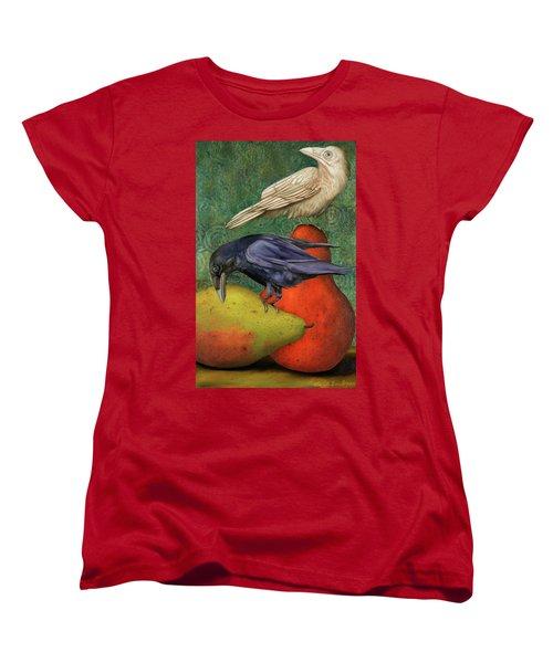 Ravens On Pears Women's T-Shirt (Standard Cut) by Leah Saulnier The Painting Maniac