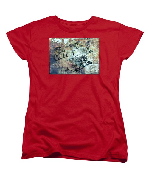 Women's T-Shirt (Standard Cut) featuring the photograph Wild Boars by Larry Campbell