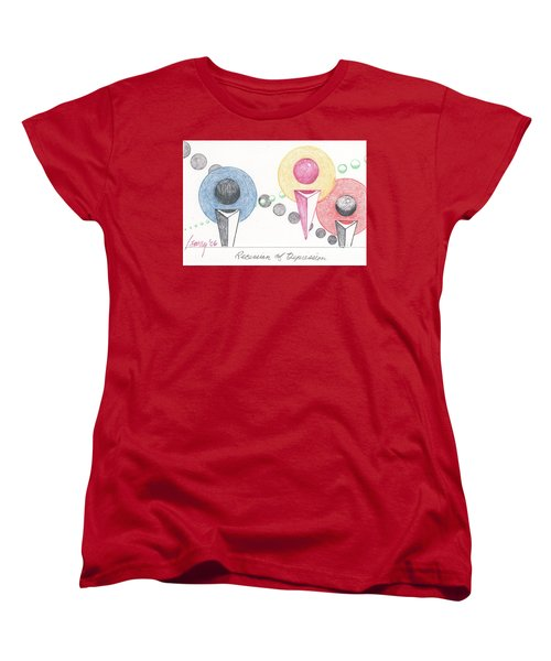 Women's T-Shirt (Standard Cut) featuring the drawing Recession Of Depression 1 by Rod Ismay