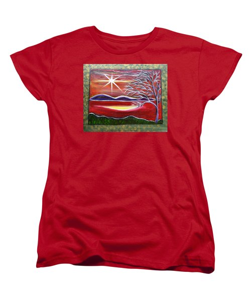 Red Abstract Landscape With Gold Embossed Sides Women's T-Shirt (Standard Cut)