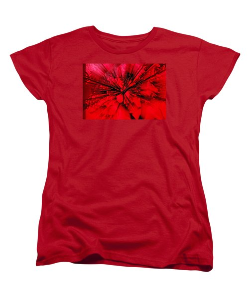 Women's T-Shirt (Standard Cut) featuring the photograph Red And Black Explosion by Susan Capuano