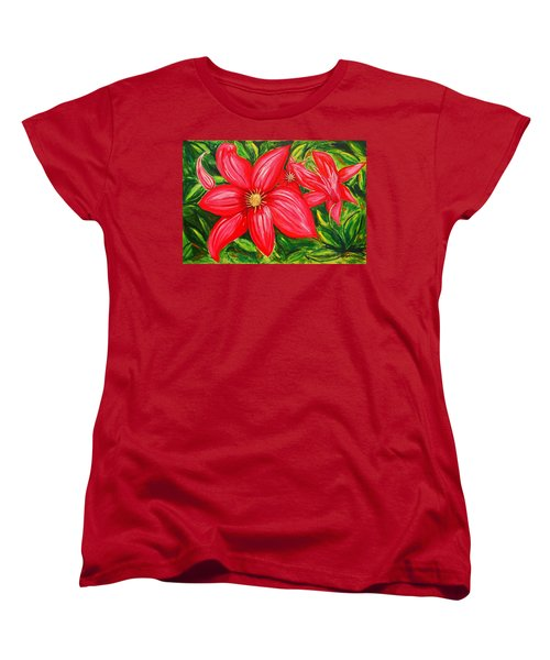 Red And Green Women's T-Shirt (Standard Cut) by J R Seymour
