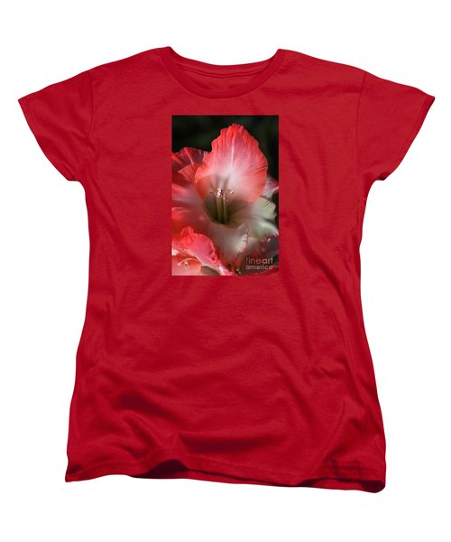 Red And White Gladiolus Flower Women's T-Shirt (Standard Cut) by Joy Watson