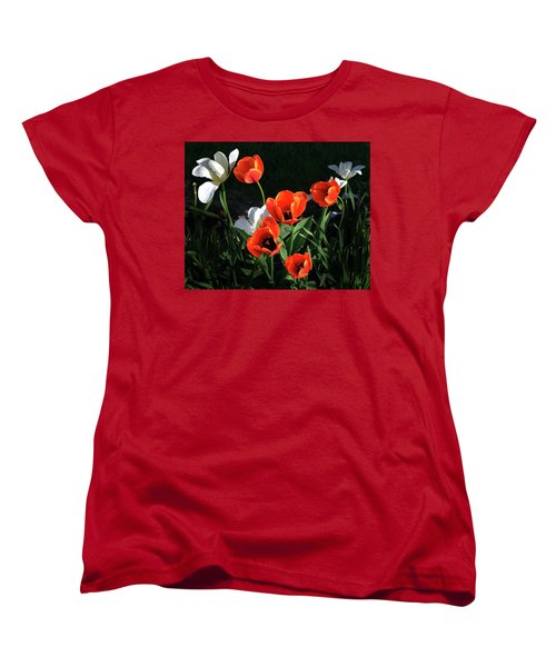 Women's T-Shirt (Standard Cut) featuring the photograph Red And White Tulips by Kathleen Stephens