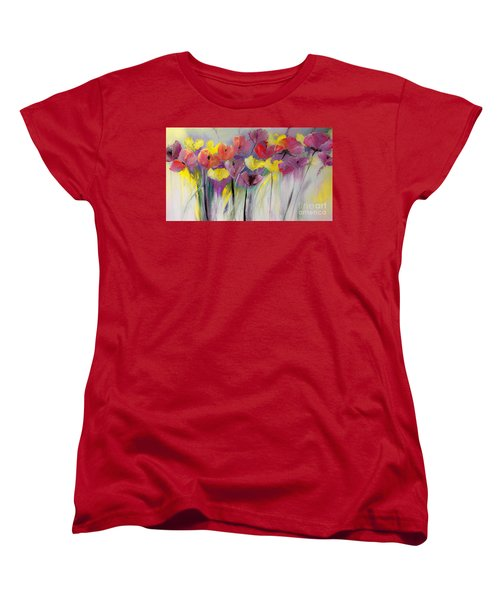 Red And Yellow Floral Field Painting Women's T-Shirt (Standard Cut) by Lisa Kaiser