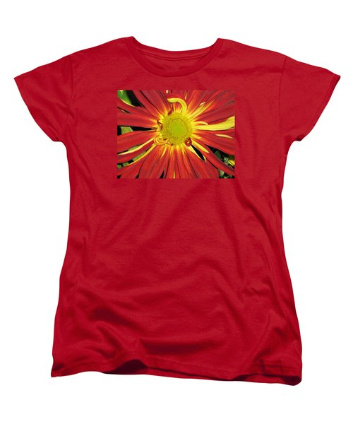 Women's T-Shirt (Standard Cut) featuring the photograph Red And Yellow Flower by Barbara Yearty