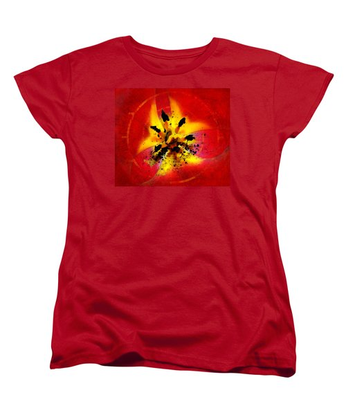 Red And Yellow Flower Women's T-Shirt (Standard Cut) by Judi Saunders