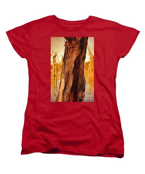 Women's T-Shirt (Standard Cut) featuring the photograph Red Bark by Douglas Barnard
