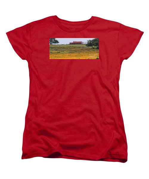 Red Barn In Wildflowers Women's T-Shirt (Standard Cut) by Toma Caul