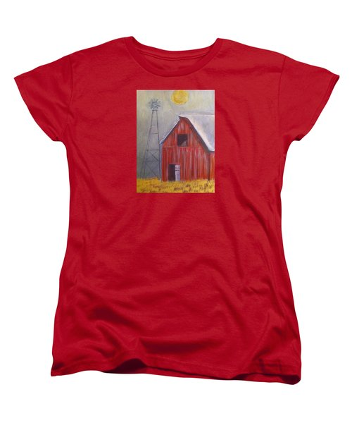 Women's T-Shirt (Standard Cut) featuring the painting Red Barn With Windmill by Belinda Lawson