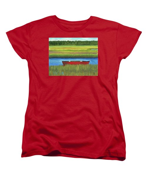 Women's T-Shirt (Standard Cut) featuring the painting Red Boat - Assateague Channel by Arlene Crafton