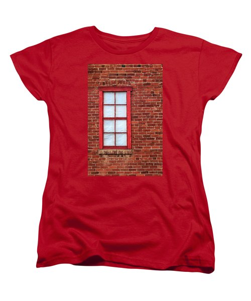 Red Brick And Window Women's T-Shirt (Standard Cut) by James Eddy