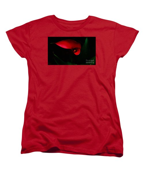 Red Calla Lilly Women's T-Shirt (Standard Cut) by Debra Crank