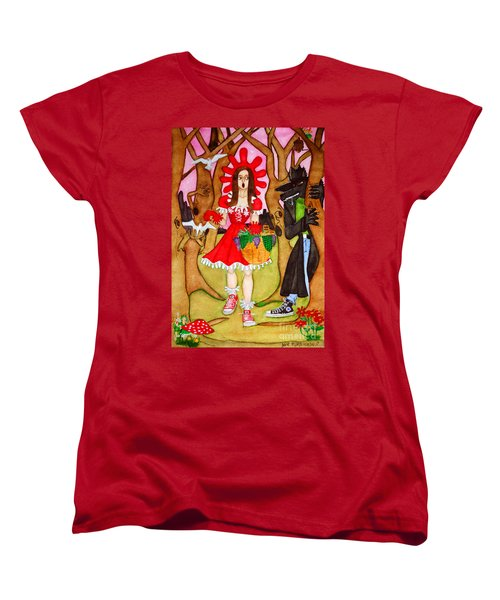 Women's T-Shirt (Standard Cut) featuring the painting The Little Riding Hood And The Wolf In Chucks by Don Pedro De Gracia