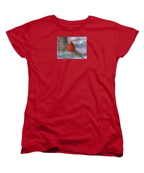 Red Cardinal Christmas Women's T-Shirt (Standard Cut) by Mary Armstrong