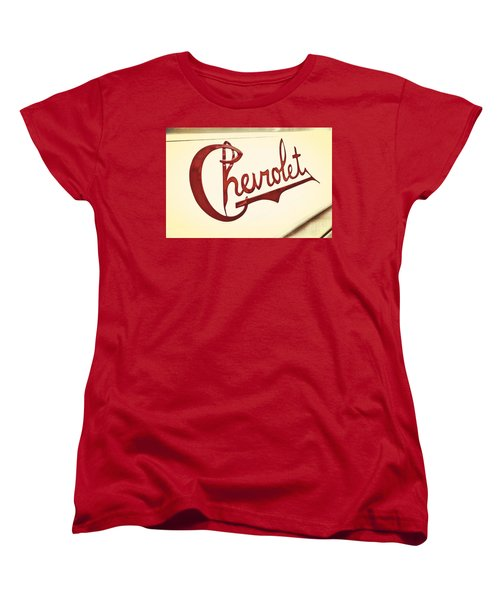 Women's T-Shirt (Standard Cut) featuring the photograph Red Chevy by Caitlyn  Grasso