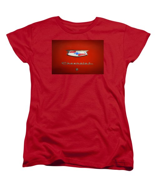 Women's T-Shirt (Standard Cut) featuring the photograph Red Chevy Bel-air Trunk by Marilyn Hunt