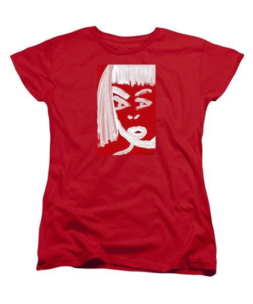 Women's T-Shirt (Standard Cut) featuring the painting Red Chinese Girl by Don Koester