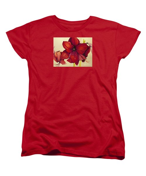 Red Christmas Amaryllis Women's T-Shirt (Standard Cut) by Rachel Lowry