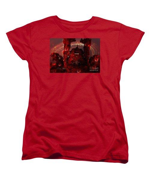 Red Creature Fractal Women's T-Shirt (Standard Cut) by Melissa Messick