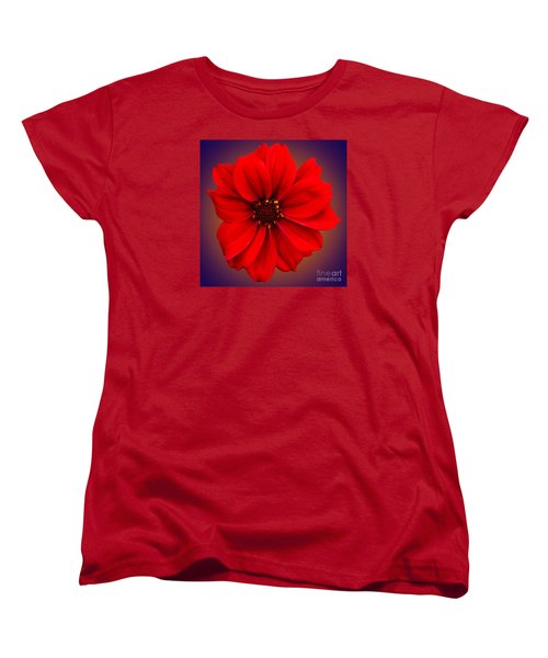 Women's T-Shirt (Standard Cut) featuring the photograph Red Dahlia-bishop-of-llandaff by Brian Roscorla
