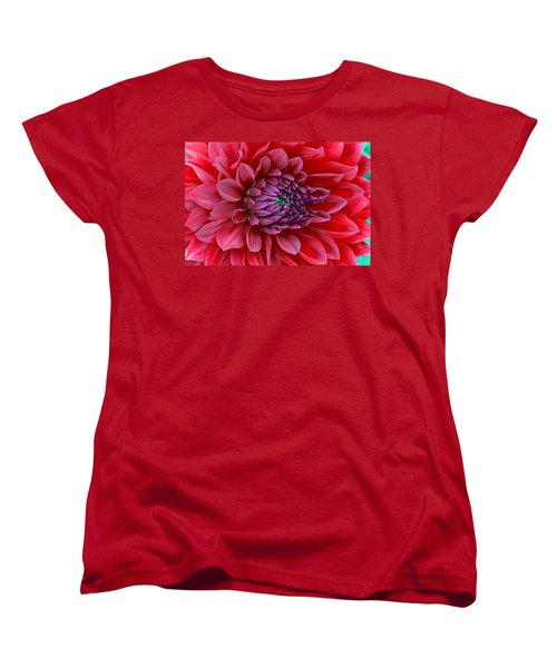 Red Dalia Up Close Women's T-Shirt (Standard Cut)