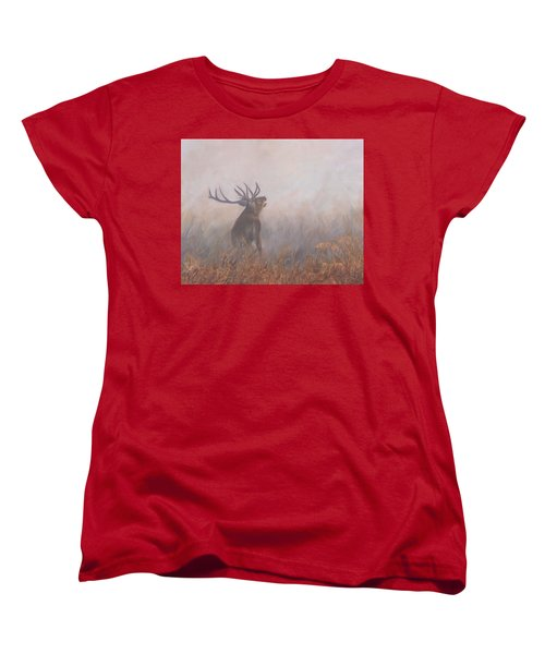 Red Deer Stag Early Morning Women's T-Shirt (Standard Cut) by David Stribbling
