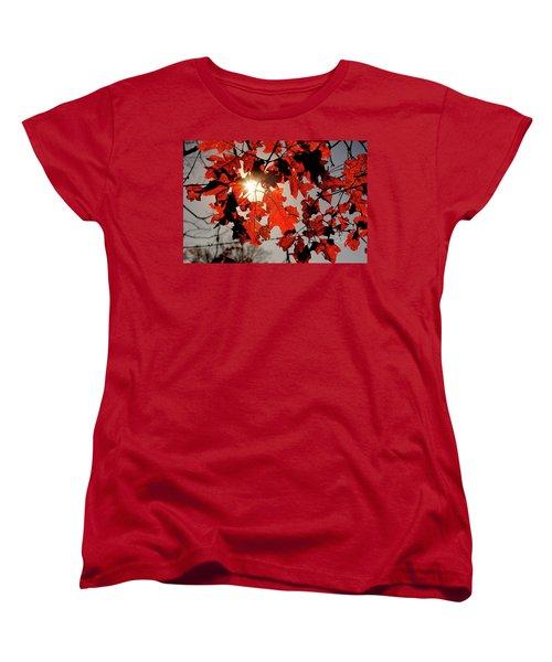 Women's T-Shirt (Standard Cut) featuring the photograph Red Fall Leaves by Meta Gatschenberger