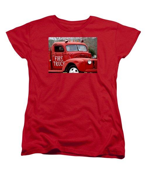 Red Fire Truck Women's T-Shirt (Standard Cut) by Michael Thomas