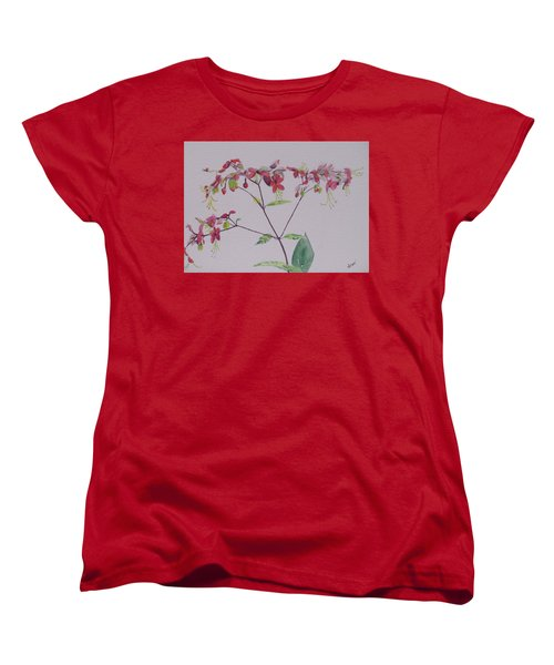 Red Flower Vine Women's T-Shirt (Standard Cut) by Hilda and Jose Garrancho
