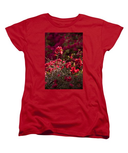 Women's T-Shirt (Standard Cut) featuring the photograph Red Flowering Quince Schrub by Daniel Hebard