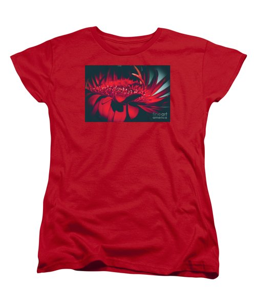Women's T-Shirt (Standard Cut) featuring the photograph Red Flowers Parametric by Sharon Mau