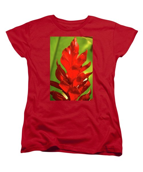 Red Ginger Bud After Rainfall Women's T-Shirt (Standard Cut) by Michael Courtney