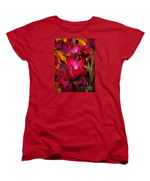 Red Gladiolus Macro Photograph Women's T-Shirt (Standard Cut) by Merton Allen