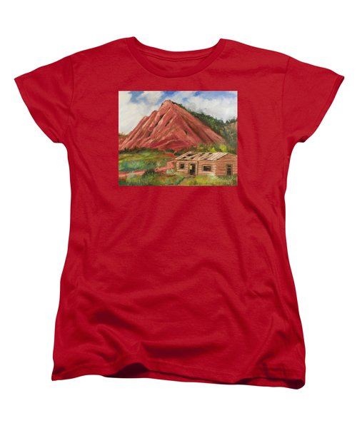 Red Hill And Cabin Women's T-Shirt (Standard Cut) by Sherril Porter