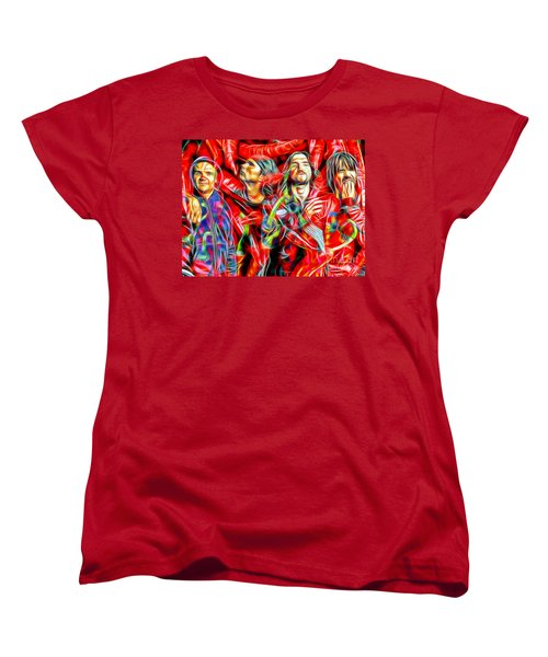 Red Hot Chili Peppers In Color II  Women's T-Shirt (Standard Cut) by Daniel Janda